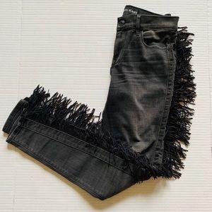 Express Black Mid Rise Fringe Skinny Jean